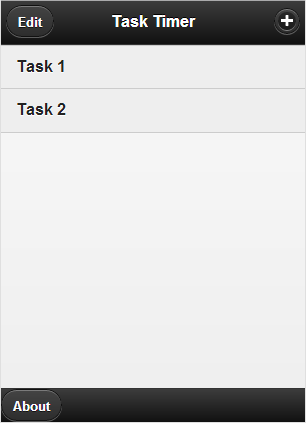 Basic tasks page produced by JQuery Mobile